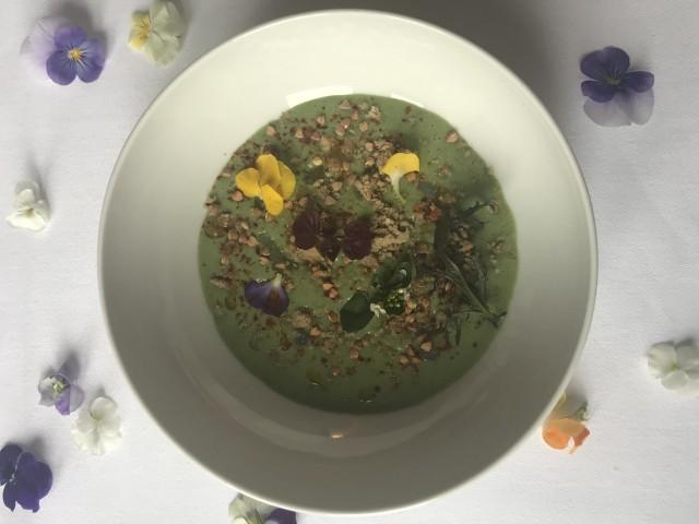 Le Lamarck Crème de cresson, anguille fumée, crumble au sarrasin et capucines - Antoine Versini - Le Lamack, 8rue Lamarck Paris 18e